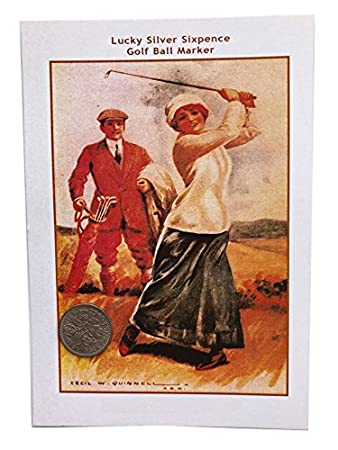 Golf Ball Marker Lucky Silber Sixpence Geschenk Karte Grüße für ...