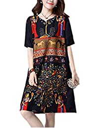 FDFAF Fashion cotton linen vintage print women casual loose summer dress vestidos femininos party dresses