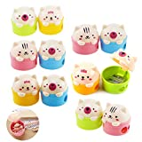 12Pcs Cartoon Animal Pencil Sharpeners, Creatiee Cute Pussy Cat and Bear Two-Holes Pencil Sharpeners|Plastic Pencil Sharpener School Gift Prize for Kids Students (Mixed Colors)