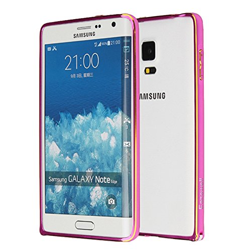 Galaxy Note Edge Bumper Case, Luxury Light Slim Bicolor Gilt-edged Design Aluminium Metal Alloy Hard Blade Bumper Case Mid Frame Cover with Easy-lock for Samsung Note Edge N915 (Rose Red) (Galaxy Note Edge Metal Case compare prices)
