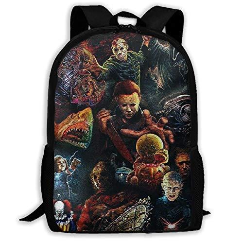 Hoopg Halloween Michael Myers Film Figure Bag Backpack Full-print Backpack Children's Backpack Backpack Fashion Backpack Stylish Sturdy Durable Comfortable -