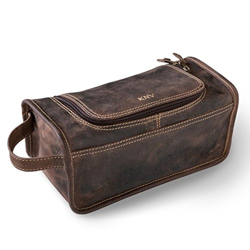 3002e4fd1b Personalized Distressed Brown Leather Travel Toiletry Bag - Rose Gold
