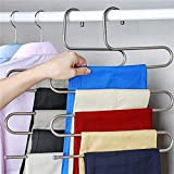 Tuersuer Easy to Assemble Clothes Rack S Type Clothes Pants Trouser Hanger Multi Layers Storage Rack Stainless Steel Closet Space Saver