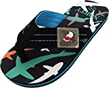 NORTY - Little Boy's Shark Graphic Flip Flop Thong Sandal, Black, Turquoise 40646-13MUSLittleKid