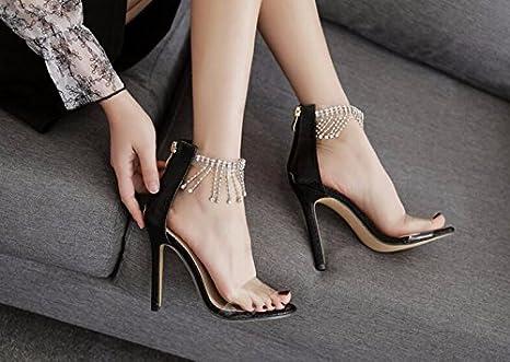 GTVERNH-sexy metallo plastica fiocco acqua trapano buckle 10-12cm super tacco tacco sandali. 35 golden