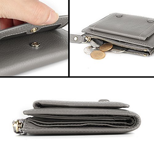 12 Card Holder Slots 2 ID Windows Small Genuine Leather Wallet for Women by YALUXE (Image #4)