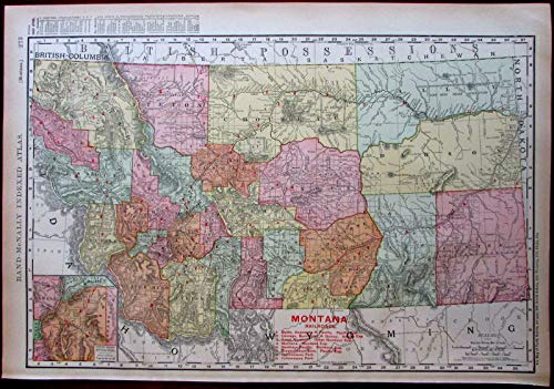 Rare Railroad Map Atlas - Montana Railroads 1908 huge detailed Rand McNally state by itself map