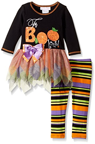 Bonnie Baby Baby Girls' Appliqued Tutu Dress and Legging Set, Black, 3-6 -