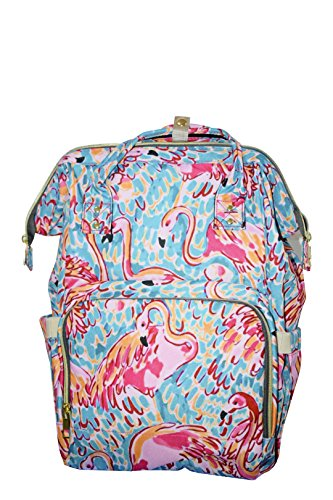 Xiakou Lilly Inspired Diaper Backpack with Coral Rose Flamingo Printing Flamingo