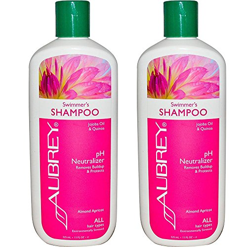 Aubrey Organics Swimmer's Shampoo and pH Neutralizer with Jojoba Oil and Quinoa for All Hair Types, 11 fl oz (325 ml) (Pack of 2)