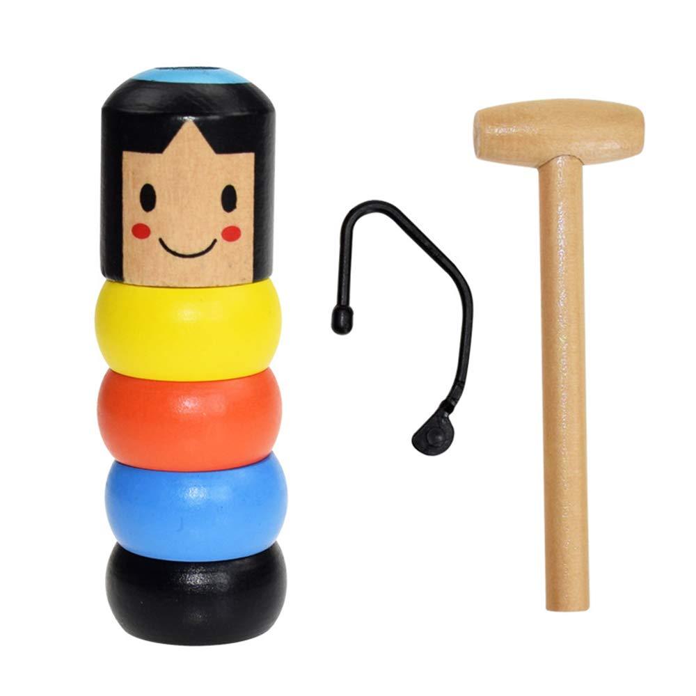 axusndas Unbreakable Wooden Man Magic Toy Stubborn Wood Man Magic Tricks Atrezzo Juguetes Ni/ños Ni/ños Magia Easy Doing Gift para Halloween Fiesta de Navidad Immortal Daruma