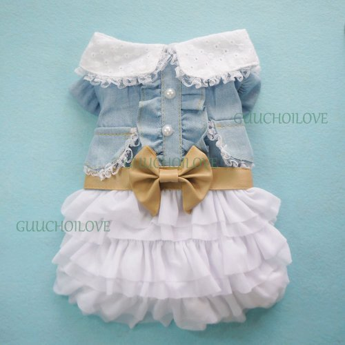 SMALLLEE_LUCKY_STORE Fairy Denim Dog Dress for Dog Clothes Charming Cozy Dog Shirt Pet Dress L
