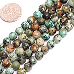"Natural Round Faceted Blue Africa Turquoise Gemstone Loose Beads for Jewelry Making Handmade DIY One Strand 15"" (4mm/blue)"