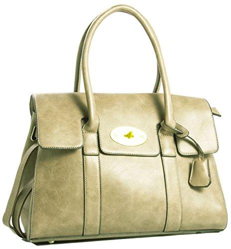 Big bolso Shop para mujer BOUTIQUE funda de piel sintética asa superior bolso bandolera beige