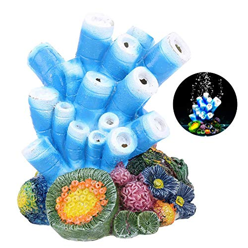 OIIKURY Aquarium Decoration, Coral Air Stone Bubble Fish Tank Decor Starfish Rock Ornament Oxygen Pump Bubbler Resin Carfts