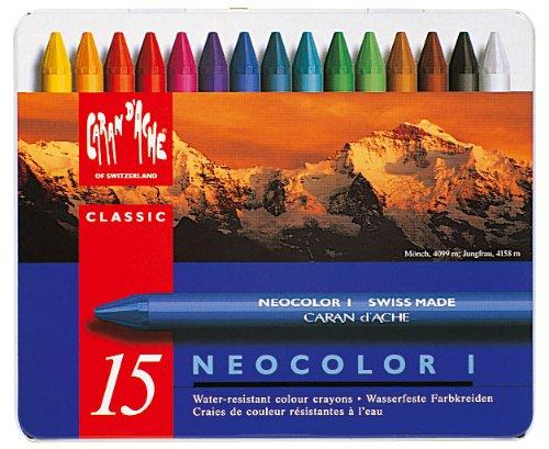 CARAN DACHE Neocolor I 15 Pasteles Resistentes al Agua