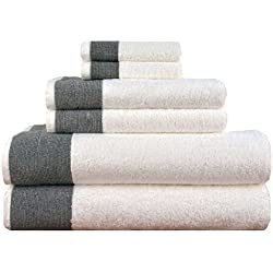 LUNASIDUS CTT-100 Venice Luxury Hotel & Spa Premium 6Piece Towel Set, 100% Turkish Cotton, Towel Sets, White Towel, Black