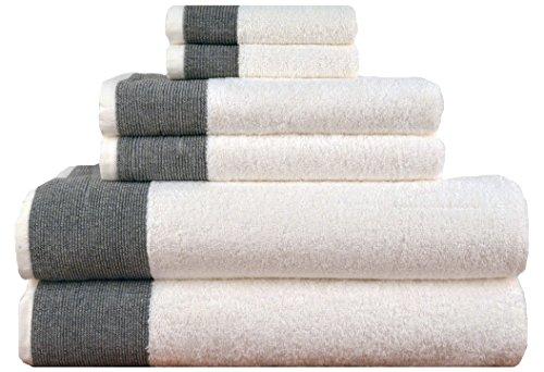 LUNASIDUS CTT-100 Venice Luxury Hotel & Spa Premium 6Piece Towel Set, 100% Turkish Cotton, Towel Sets, White Towel, Black by LUNASIDUS (Image #1)
