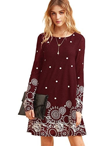 Long Sleeve Printed Tunic Dress - ROMWE Women's Loose Long Sleeve Floral Printed Casual Tunic Dress Burgundy M