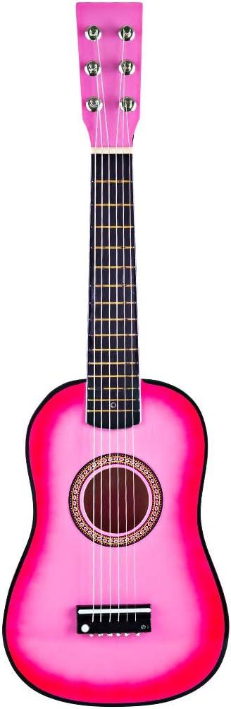 YAKOK Madera Guitarra Niño 6 Cuerdas 23 Guitarra Juguete para Niños y Niñas 3-10 años (Rosa): Amazon.es: Juguetes y juegos