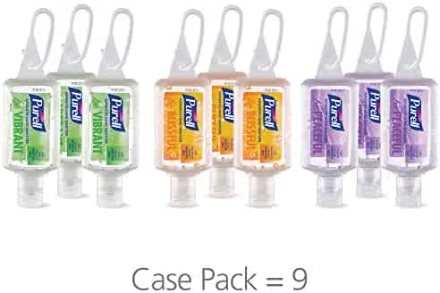 PURELL Advanced Hand Sanitizer Gel Infused with Essential Oils, Scented Variety Pack, 9-1 fl oz Travel Sized Flip Cap Bottles with included JELLY WRAP Carriers (Pack of 9) – 3900-09-ECME17