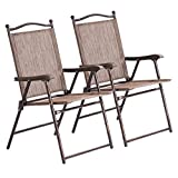 2PCS Brown Patio Folding Foldable Sling Back Lounge Chairs Durable Sturdy Steel Tubes Frame Textile Fabric Material Outdoor Garden Camping Picnic Deck Backyard Beach Pool Side Use Lightweight Design
