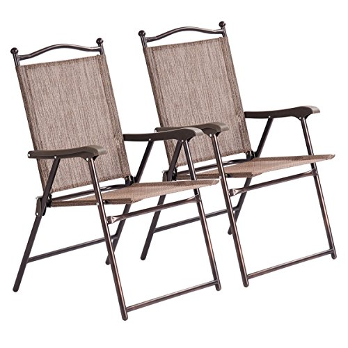 2PCS Brown Patio Folding Foldable Sling Back Lounge Chairs Durable Sturdy Steel Tubes Frame Textile Fabric Material Outdoor Garden Camping Picnic Deck Backyard Beach Pool Side Use Lightweight Design by Almacén