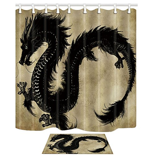 NYMB Black Dragon Shower Curtain, Magic Animals Dragon Flying Ink and Wash Painting, Polyester Fabric Shower Curtain Suit with 15.7x23.7in Flannel Non-Slip Floor Doormat Bath Rugs, -