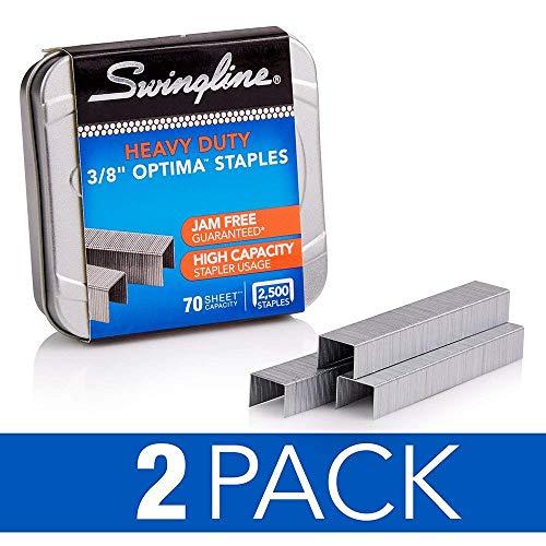 Swingline Staples, Optima, Heavy Duty, 3/8 Length, Jam Free, 125/Strip, 2500/Box, 2 Pack (35557)