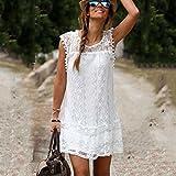 HTHJSCO Womens Sleeveless Lace Patchwork Loose Casual Mini Chiffon Dress, Summer Chiffon Tunic Dress, Beach Dress (White, M)