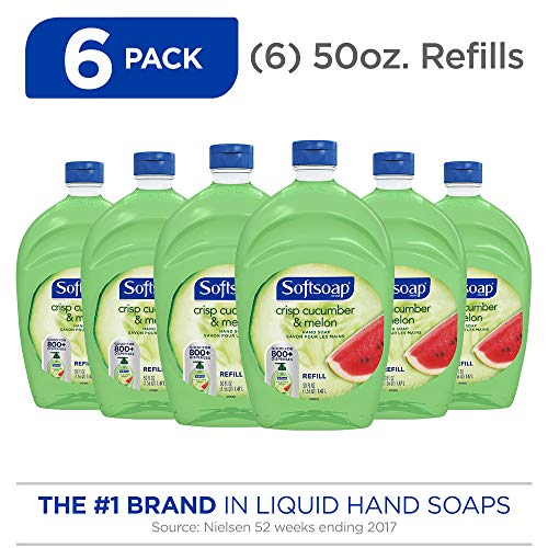 SOFTSOAP Liquid Hand Soap Refill, Crisp Cucumber and Melon, 50 Ounce Bottle, Bathroom Soap, Bulk Soap, Premium Scented Hand Soap