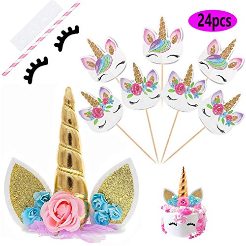 Unicorn Cake Topper (Unicorn Cake Topper with Eyelashes and 24 Pieces Double Sided Unicorn Cupcake Toppers set for Birthday Party Supplies, Wedding, Baby)