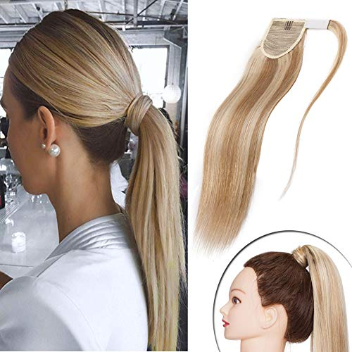 Straight Pony - Highlighted Blonde Wrap Around Ponytail Human Hair Extensions Ash Blonde mixed Bleach Blonde Comb Clip in Long Straight Pony Tail for Women 90g Thick Soft One Piece Hairpiece 16 inch #18&613