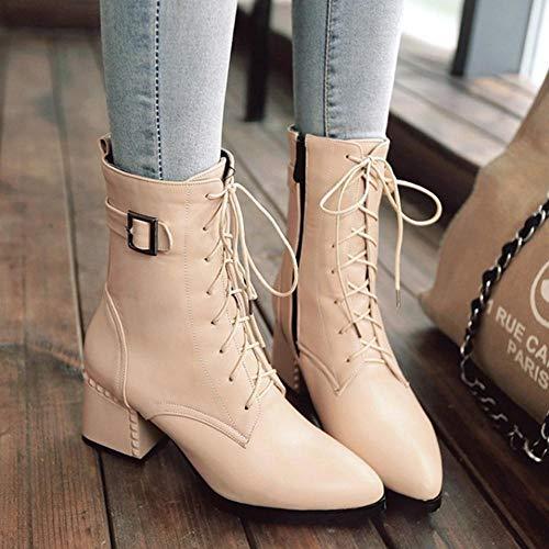 Apricot Zipper Coolcept 47 Ankle Square Women Fashion Heel Boots ZCwq60zC