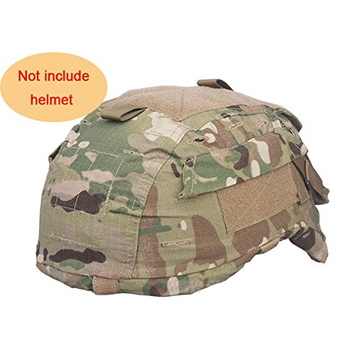 H World Shopping Tactical Military Airsoft Hunting Helmet Cover W/ Back Pouch for MICH 2001 Multicam MC (Mich 2001 Airsoft Helmet)