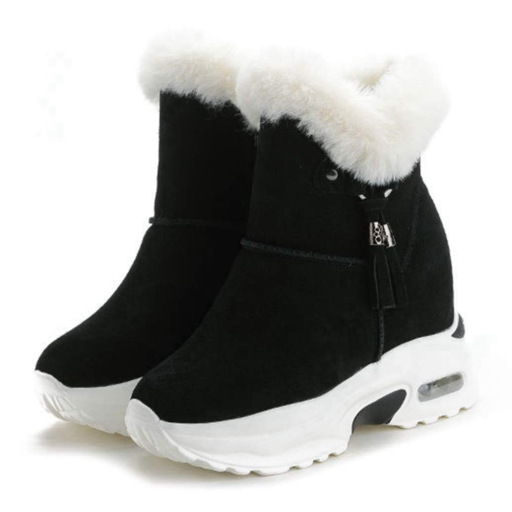 CYBLING Womens High Top Faux Shearling Trim Ankle Boots Fashion Air Cushion Outdoor Sneaker Shoes