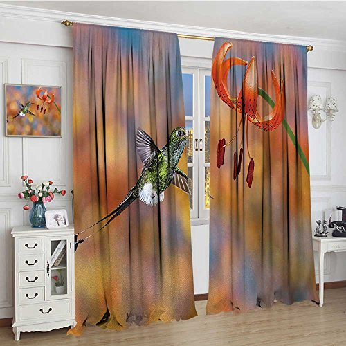 smallbeefly Hummingbird Room Darkening Wide Curtains The Booted Racket-Tail Feeding Nectar from Tiger Lily Blur Background Photo Drapes For Living Room 108