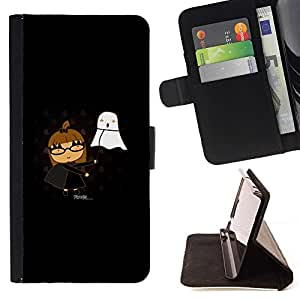 Momo Phone Case / Flip Funda de Cuero Case Cover - Cute Funny Girl & Ghost - HTC One M9