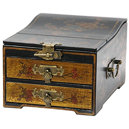 Asian Jewelry Box - Oriental Furniture Small Jewelry Box with Mirror