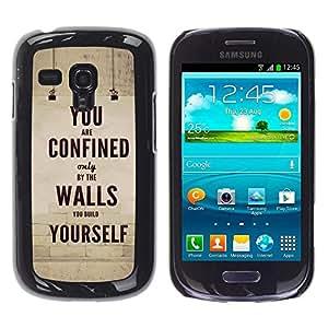Caucho caso de Shell duro de la cubierta de accesorios de protección BY RAYDREAMMM - Samsung Galaxy S3 MINI NOT REGULAR! I8190 I8190N - Retro Vintage Text Inspiring Message