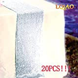 LQIAO 20pcs Sequin Table Runner 12x108-in, Silver Shimmer Sequin Fabric, Sequin Tablecloth Wedding/Party Decoration