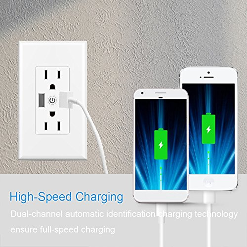 Smart WiFi Wall Outlet,Top & Bottom Outlets are Independently Controllable, Duplex Receptacle Socket , Works with Alexa Dot Echo Plus Google Assistant IFTTT, No Hub Required by Kapok (Image #3)