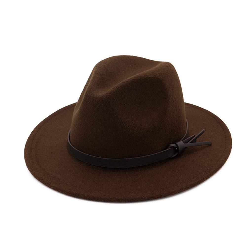 Vim Tree Womens Fedora Hats with Belt Buckle Wide Brim Panama Fedora Cap Coffee