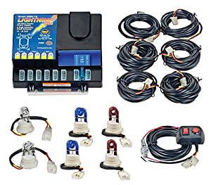 Wolo (8006-11-2C2B2R) Lightning Plus 120 Watt Power Supply Six Bulb Emergency Warning Strobe Kit - 2 Clear Bulbs, 2 Blue Bulbs, 2 Red Bulbs