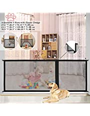 "Magic Gate for Dogs, Portable Folding Pet Guard Mesh Safe Gates,Baby Safety Guard Fence with Zipper Design 3 Adjustable Sizes(70.9""/43.3""/27.6""),Easy Install Anywhere"