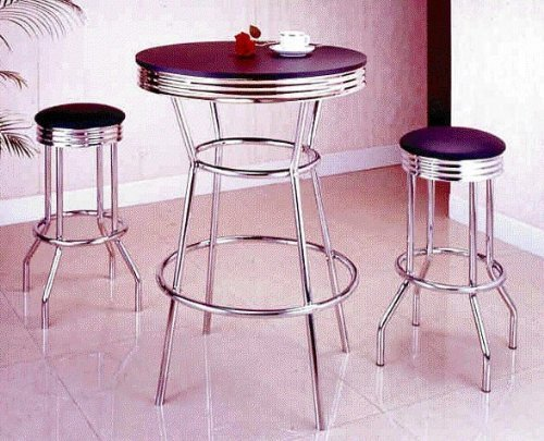 3 Piece Chrome Retro Style Bar Table Set - Table And 2 Stools -