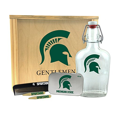 (Worthy Promo NCAA Michigan State Spartans Gentlemen's Gift Box 1-250 ml Glass Swing-Top Bottle, 10