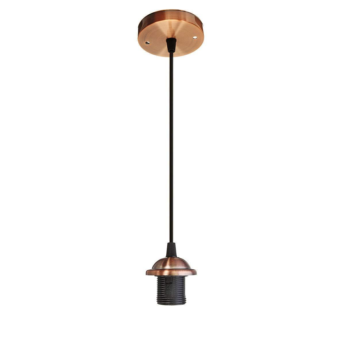 E27 Ceiling Rose Braided Fabric Flex Lamp Holder Light Hanging Fitting Pendant
