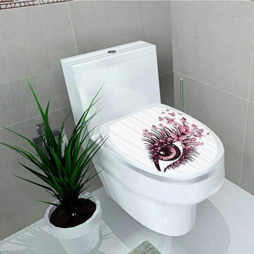 (Printsonne Bathroom Toilet Female Eye Butterflies Eyelashes Mascara Stare Makeup Party Celebrat Vinyl Decal Sticker W13 x L13)