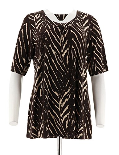 Susan Graver Liquid Knit Printed Top Shirring Scoop Brown S New A199400